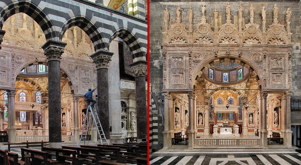 Genova, Cattedrale, Cappella di S. Giovanni: fotografia supergrandangolare mediante stitching.